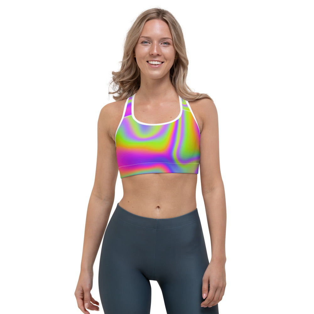 Abstract Holographic Trippy Print Sports Bra