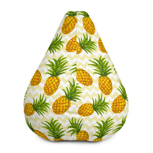 Beige Zig Zag Pineapple Pattern Print Bean Bag Chair