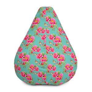 Bird Pink Floral Flower Pattern Print Bean Bag Chair