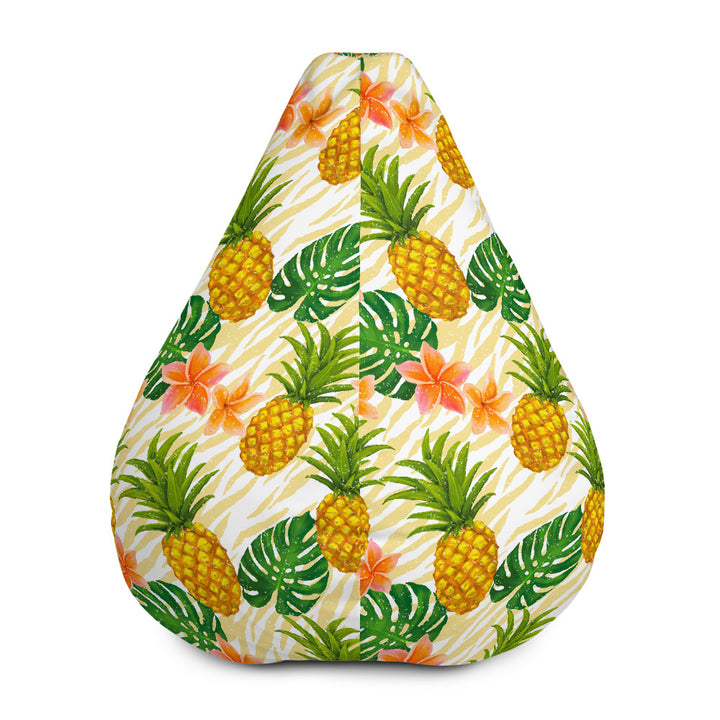 Beige Zebra Pineapple Pattern Print Bean Bag Chair