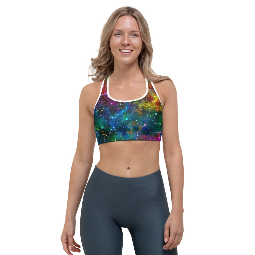 Abstract Colorful Galaxy Space Print Sports Bra