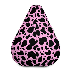Black And Pink Cow Print Bean Bag Chair