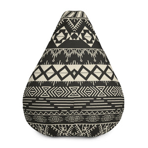 Black And Beige Aztec Pattern Print Bean Bag Chair