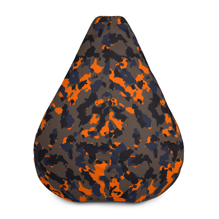 Black And Orange Camouflage Print Bean Bag Chair