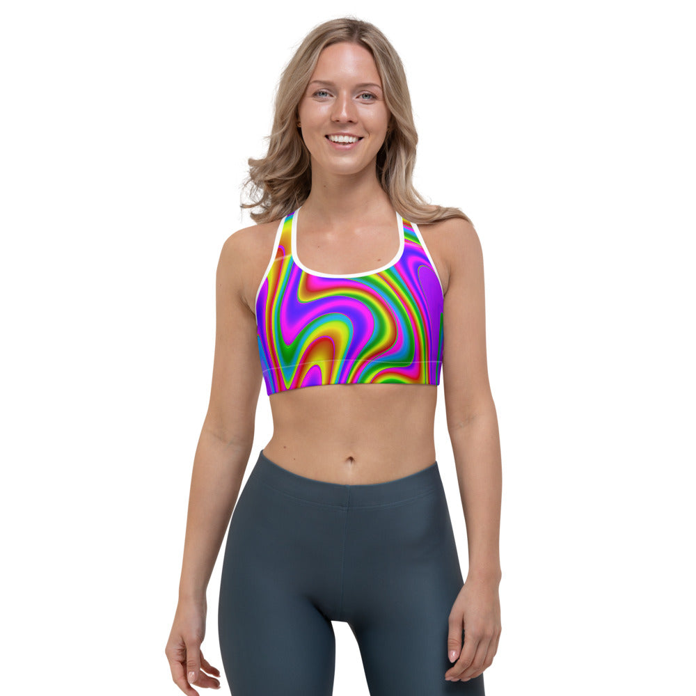 Abstract Neon Trippy Print Sports Bra