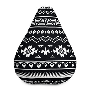 Black And White Aztec Pattern Print Bean Bag Chair