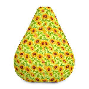 Beige Watercolor Sunflower Pattern Print Bean Bag Chair