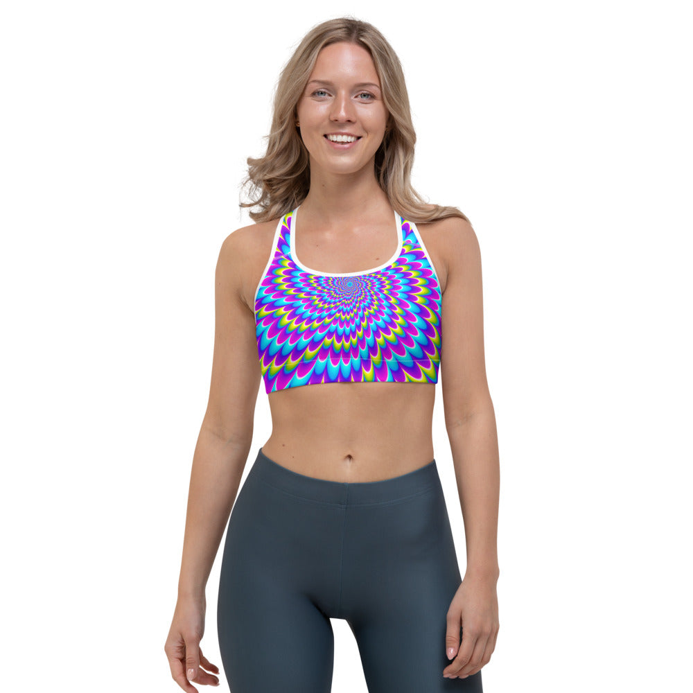 Abstract Dizzy Moving Optical Illusion Sports Bra