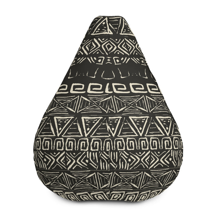 Beige Aztec Pattern Print Bean Bag Chair