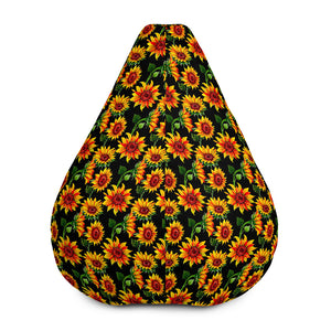 Black Autumn Sunflower Pattern Print Bean Bag Chair