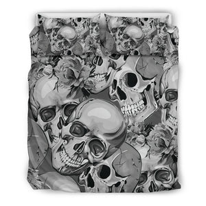 Monochrome Skull Flowers Pattern Print Duvet Cover Bedding Set GearFrost