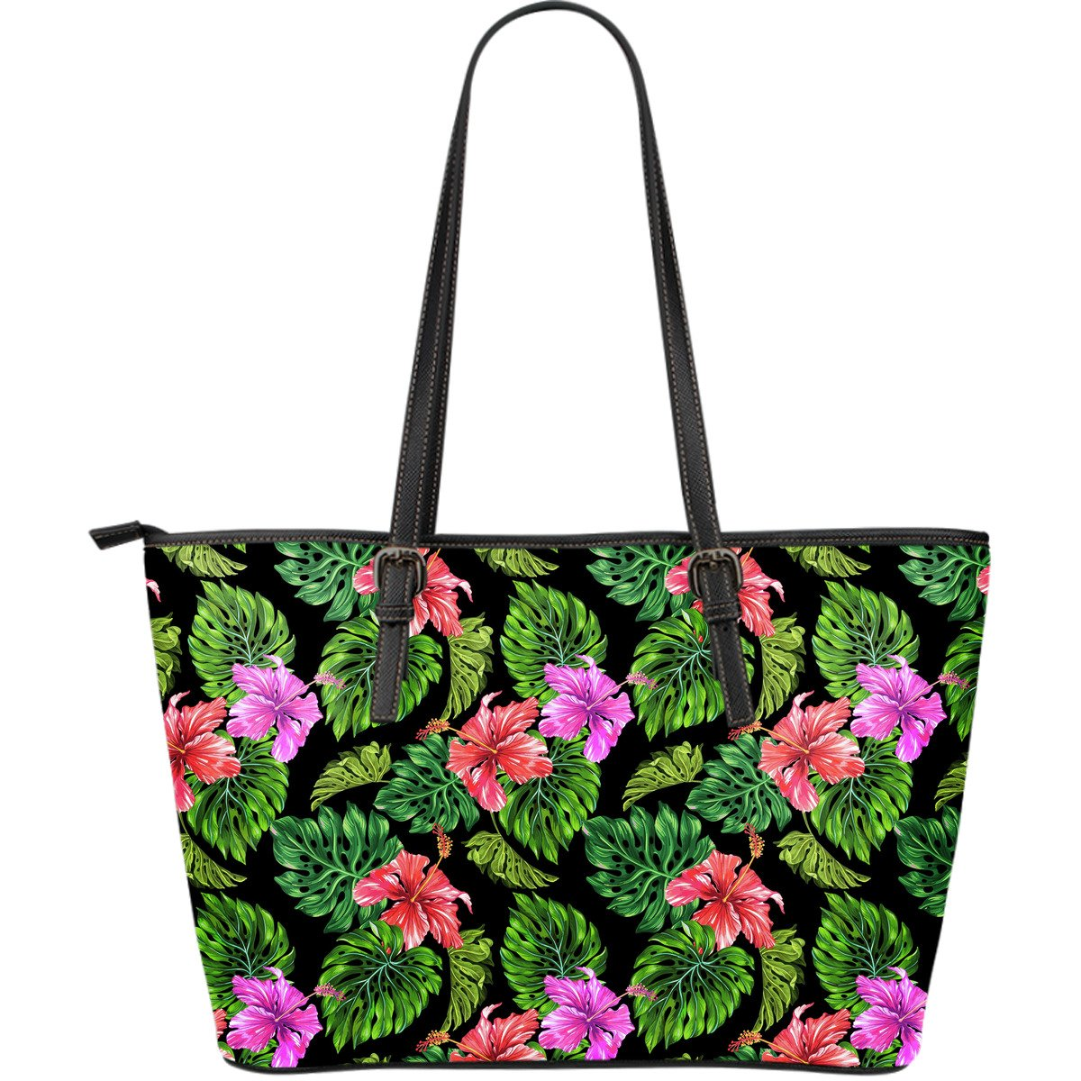 Monstera Hibiscus Hawaii Pattern Print Leather Tote Bag GearFrost