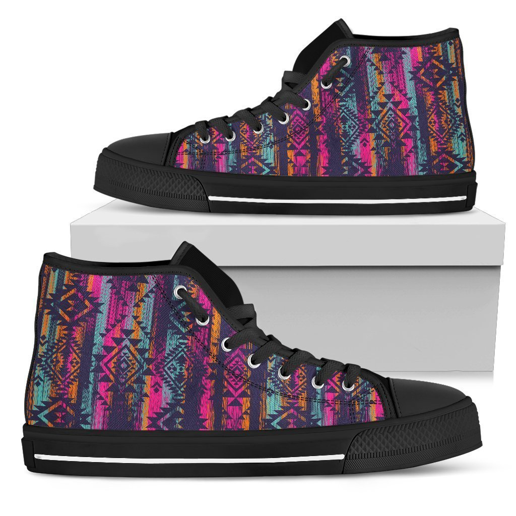 Native Tribal Aztec Pattern Print Men's High Top Shoes GearFrost