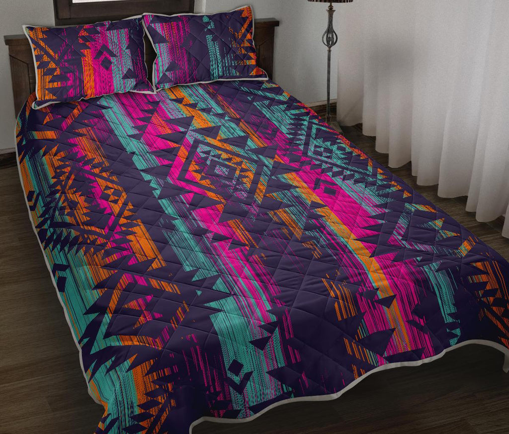 Native Tribal Aztec Pattern Print Quilt Bed Set GearFrost