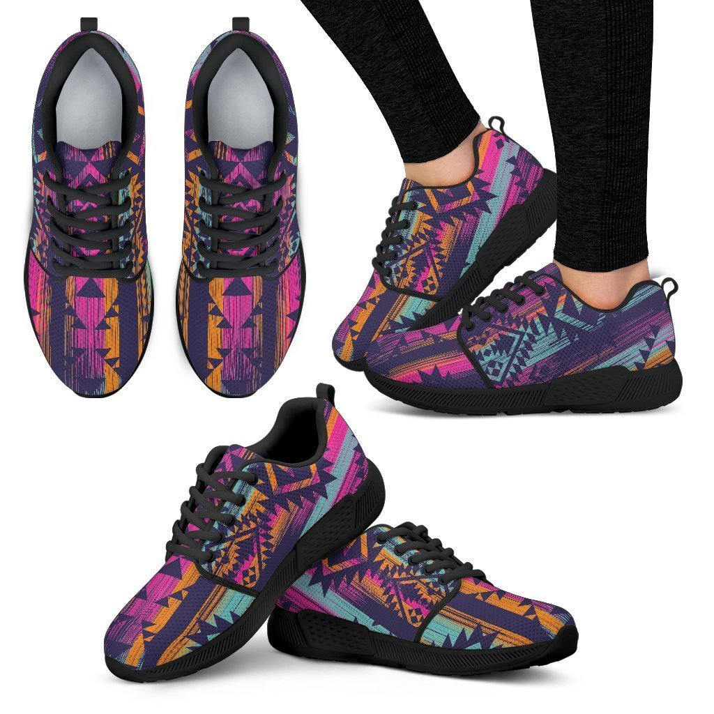 Native Tribal Aztec Pattern Print Women's Athletic Shoes GearFrost