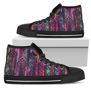 Native Tribal Aztec Pattern Print Women's High Top Shoes GearFrost