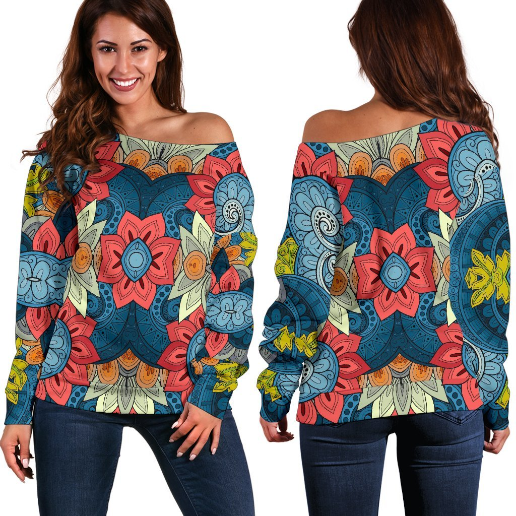 Native Tribal Bohemian Pattern Print Off Shoulder Sweatshirt GearFrost