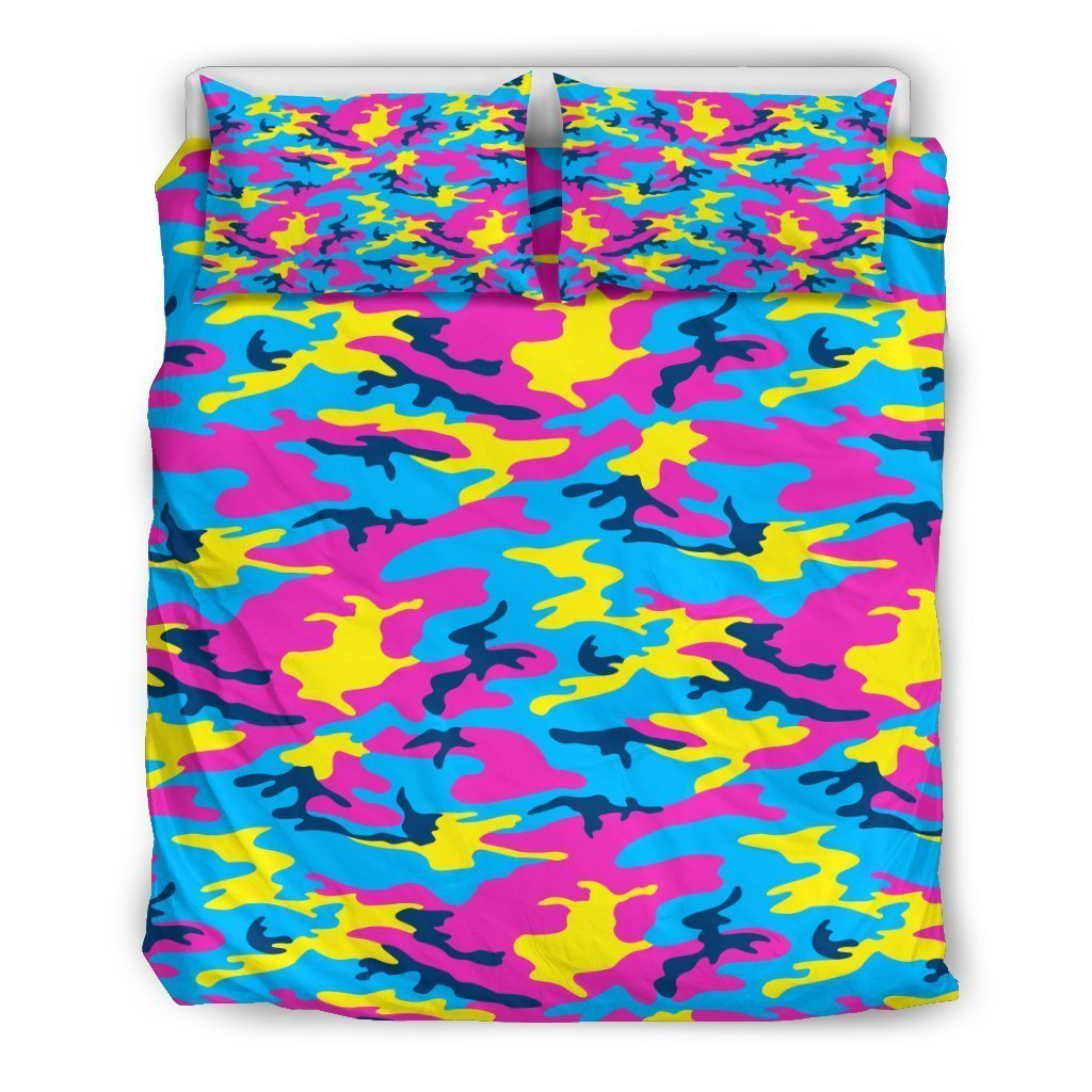 Neon Camouflage Print Duvet Cover Bedding Set GearFrost