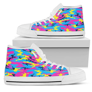 Neon Camouflage Print Men's High Top Shoes GearFrost