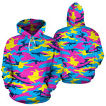 Neon Camouflage Print Pullover Hoodie GearFrost
