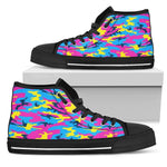 Neon Camouflage Print Women's High Top Shoes GearFrost