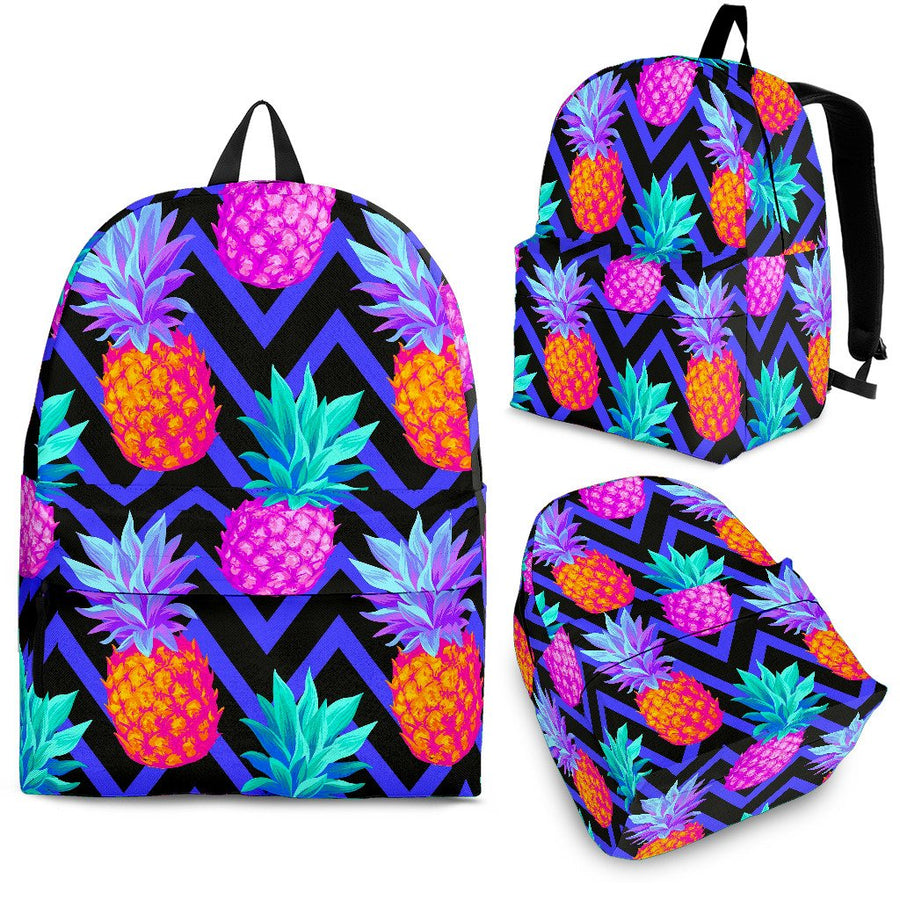 Neon EDM Zig Zag Pineapple Pattern Print Backpack GearFrost