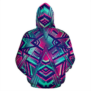 Neon Ethnic Aztec Trippy Print Pullover Hoodie GearFrost