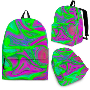 Neon Green Pink Psychedelic Trippy Print Backpack GearFrost