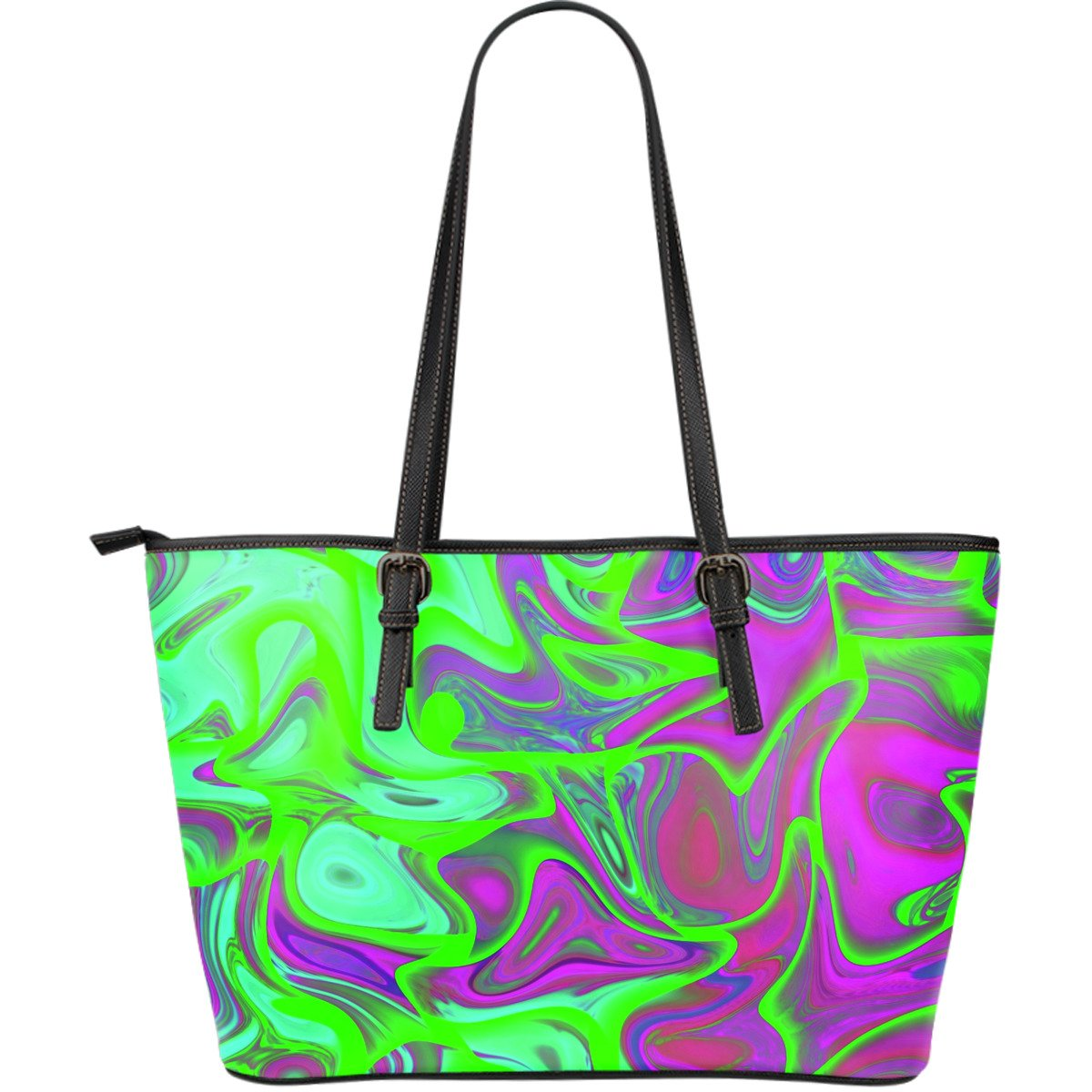 Neon Green Pink Psychedelic Trippy Print Leather Tote Bag GearFrost