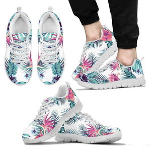 Neon Hibiscus Tropical Pattern Print Men's Sneakers GearFrost