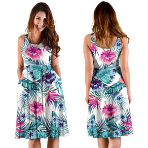 Neon Hibiscus Tropical Pattern Print Women's Dress GearFrost