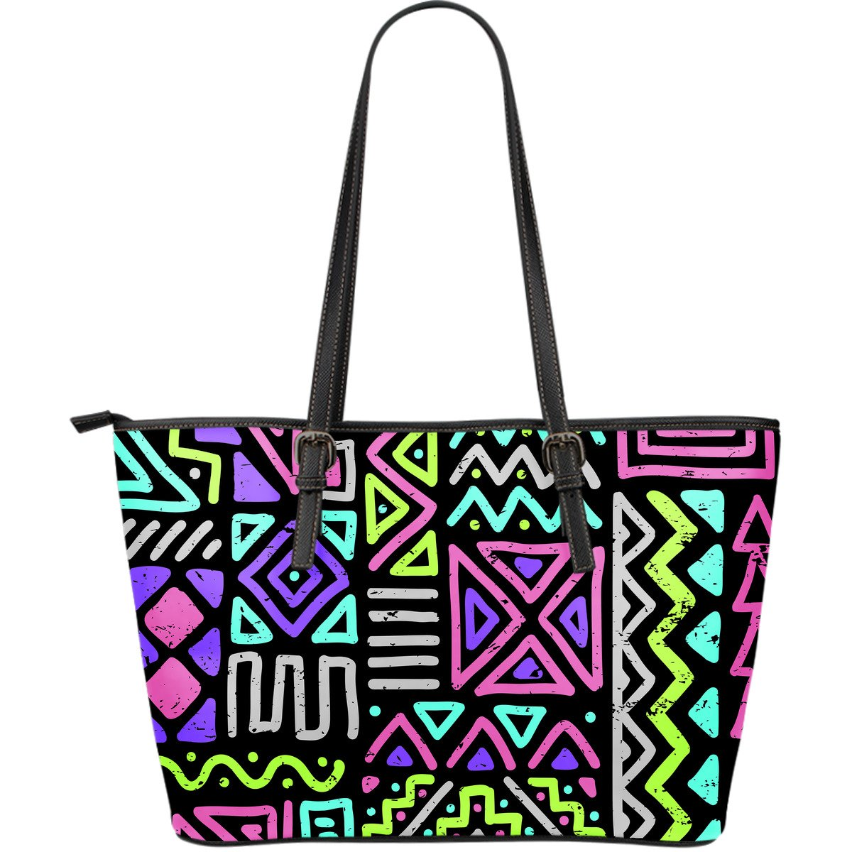 Neon Native Aztec Pattern Print Leather Tote Bag GearFrost