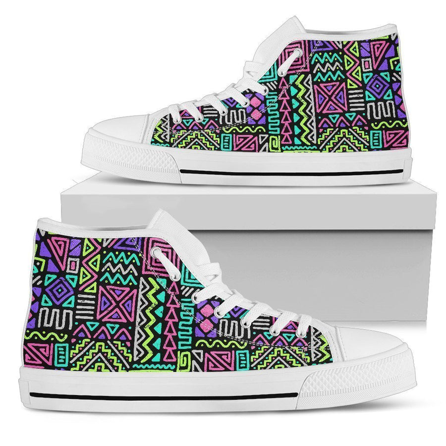 Neon Native Aztec Pattern Print Men's High Top Shoes GearFrost
