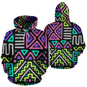 Neon Native Aztec Pattern Print Pullover Hoodie GearFrost