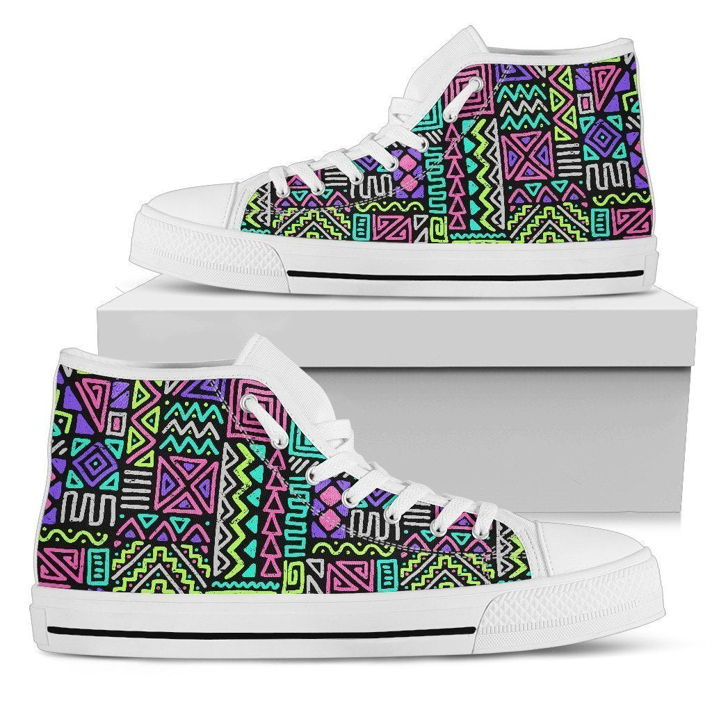 Neon Native Aztec Pattern Print Women's High Top Shoes GearFrost