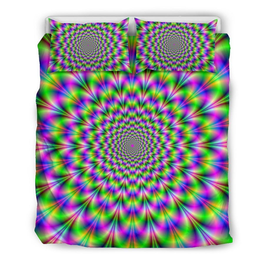 Neon Psychedelic Optical Illusion Duvet Cover Bedding Set GearFrost