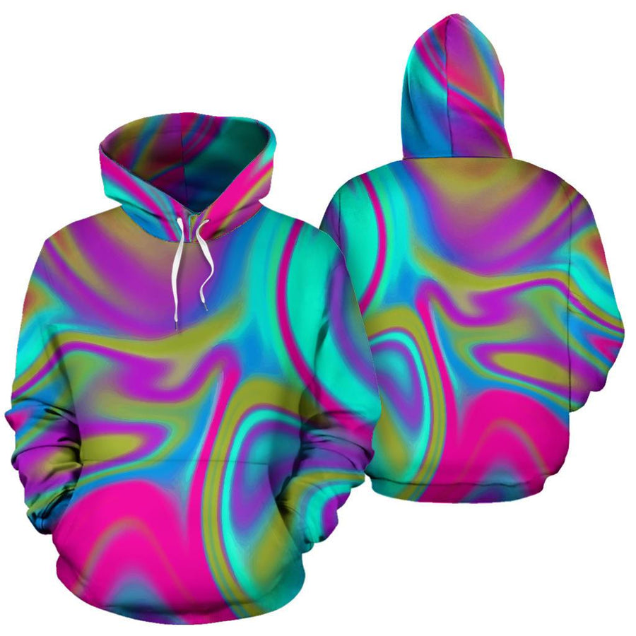 Neon Psychedelic Trippy Print Pullover Hoodie GearFrost