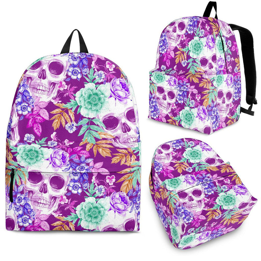 Neon Skull Floral Pattern Print Backpack GearFrost