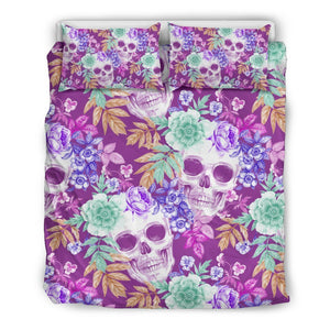Neon Skull Floral Pattern Print Duvet Cover Bedding Set GearFrost