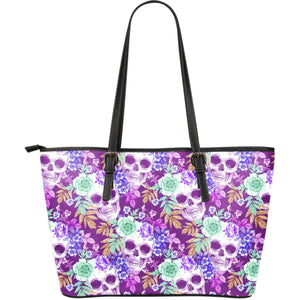 Neon Skull Floral Pattern Print Leather Tote Bag GearFrost
