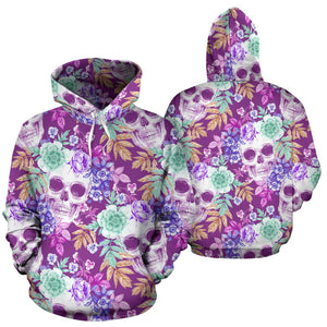 Neon Skull Floral Pattern Print Pullover Hoodie GearFrost