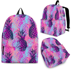Neon Trippy Pineapple Pattern Print Backpack GearFrost