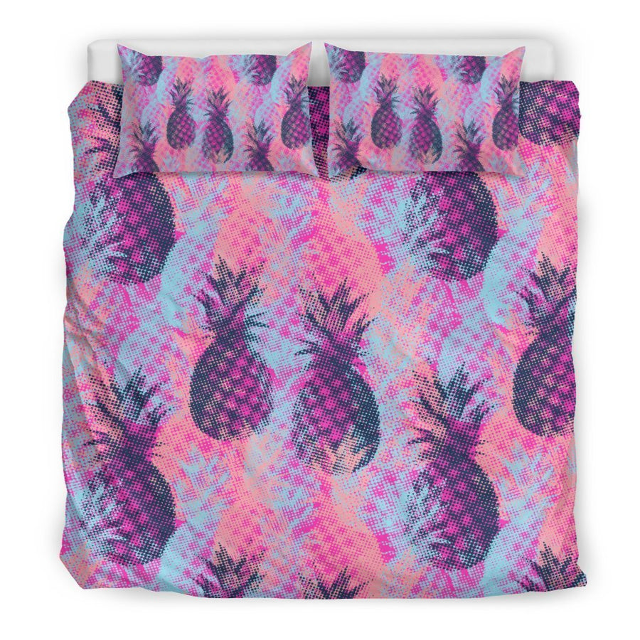 Neon Trippy Pineapple Pattern Print Duvet Cover Bedding Set GearFrost