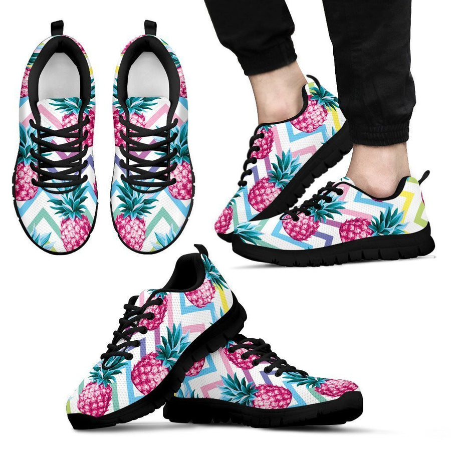 Neon Zig Zag Pineapple Pattern Print Men's Sneakers GearFrost