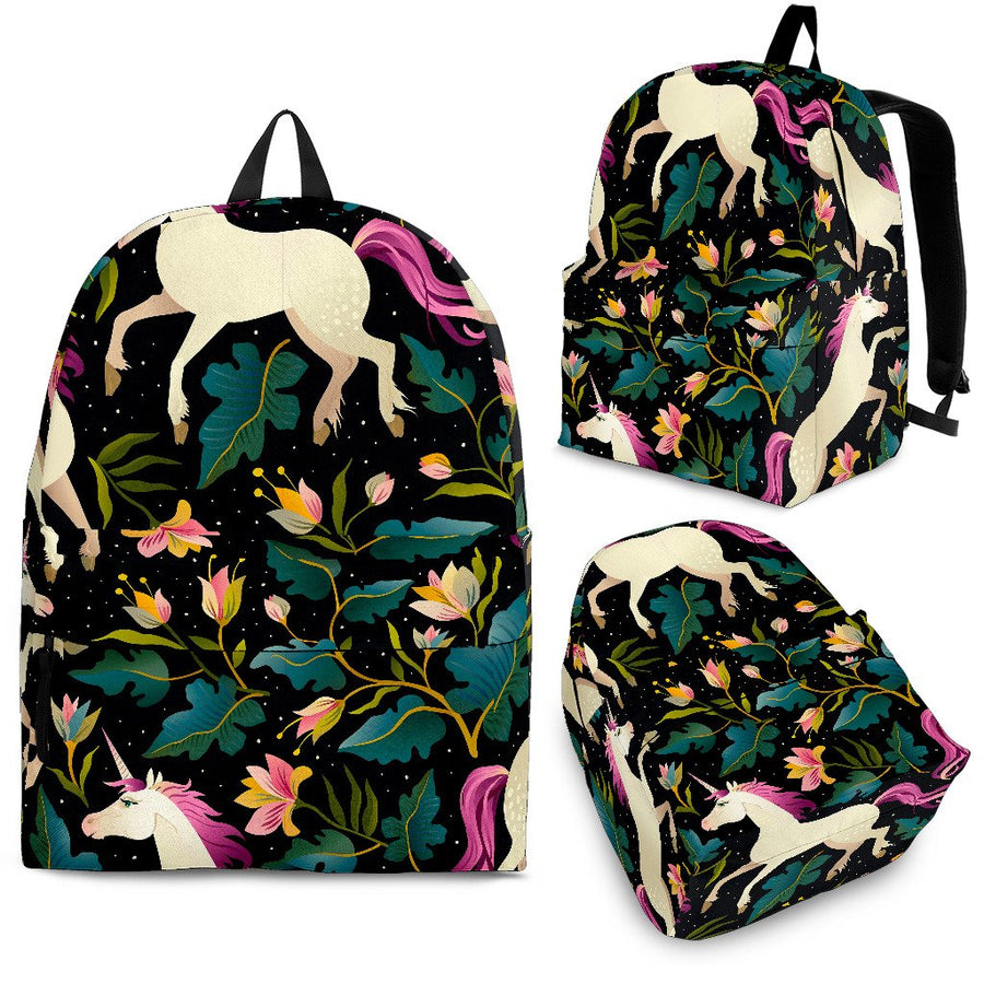 Night Floral Unicorn Pattern Print Backpack GearFrost