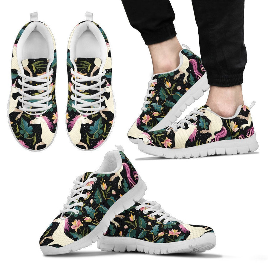Night Floral Unicorn Pattern Print Men's Sneakers GearFrost