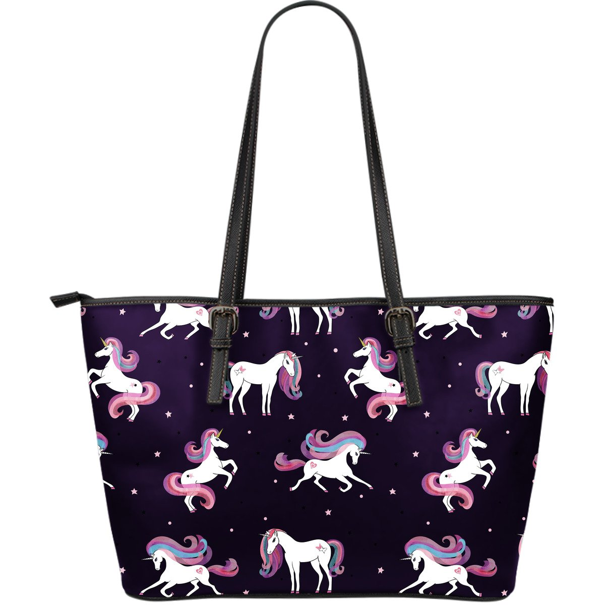Night Girly Unicorn Pattern Print Leather Tote Bag GearFrost