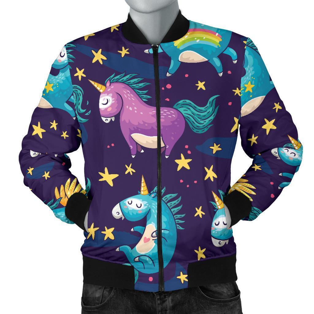 Night Star Unicorn Pattern Print Men's Bomber Jacket GearFrost