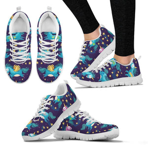 Night Star Unicorn Pattern Print Women's Sneakers GearFrost