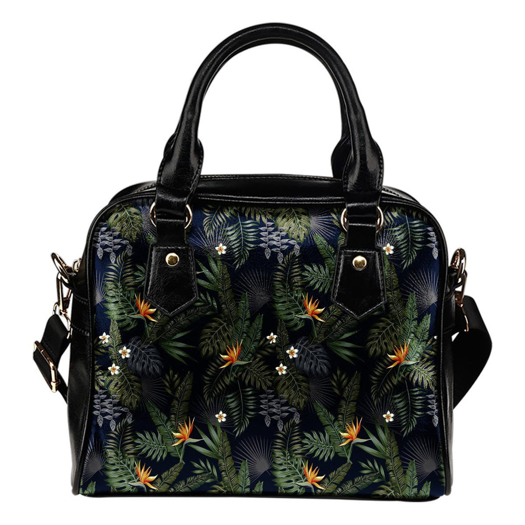 Night Tropical Hawaii Pattern Print Shoulder Handbag GearFrost